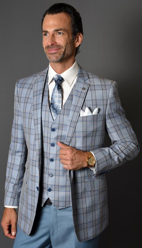 CIVITA-SB ( 3pc Mens Statement Suit, Flat Front Pants, Super 150's )