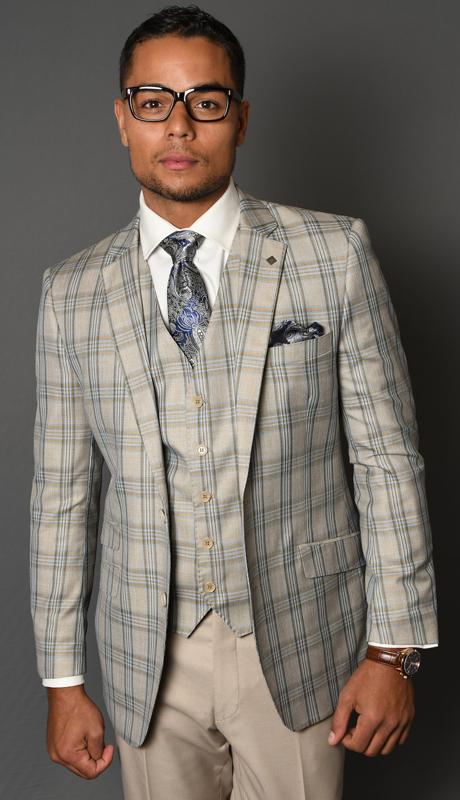 CIVITA-TA ( 3pc Mens Statement Suit, Flat Front Pants, Super 150's )