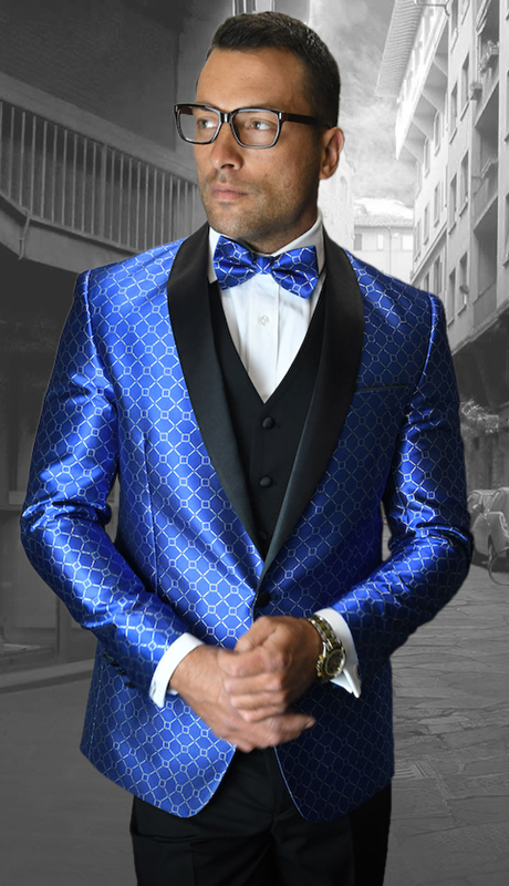 Bellagio-5 RO ( 3pc Mens Statement Suit Flat Front Pants, Super 150's, Includes Free Matching Bow Tie )