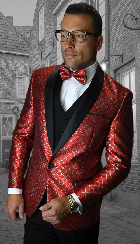 Bellagio-5 RE-CO ( 3pc Mens Statement Suit Flat Front Pants, Super 150's, Includes Free Matching Bow Tie )