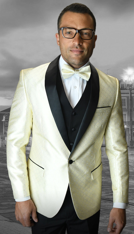 Bellagio-5 OW ( 3pc Mens Statement Suit Flat Front Pants, Super 150's, Includes Free Matching Bow Tie )
