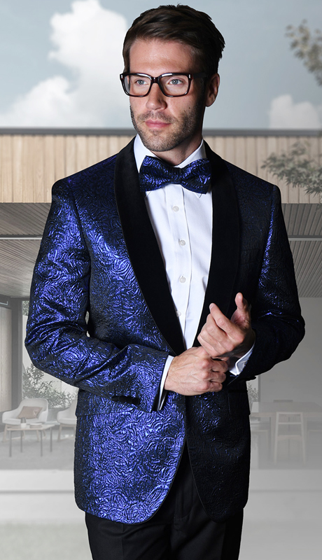 VJ-113-RO ( 1pc Mens Statement Sport Coat With Velvet Lapel And Free Matching Bow Tie, Super 150's )