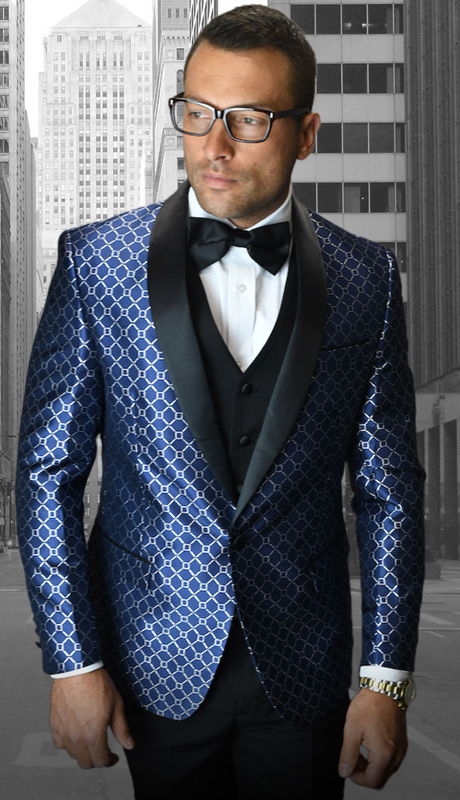 Bellagio-5 NA ( 3pc Mens Statement Suit Flat Front Pants, Super 150's, Includes Free Matching Bow Tie )