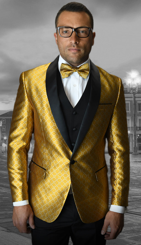 Bellagio-5 GO ( 3pc Mens Statement Suit Flat Front Pants, Super 150's, Includes Free Matching Bow Tie )