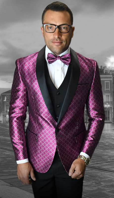 Bellagio-5 FU ( 3pc Mens Statement Suit Flat Front Pants, Super 150's, Includes Free Matching Bow Tie )