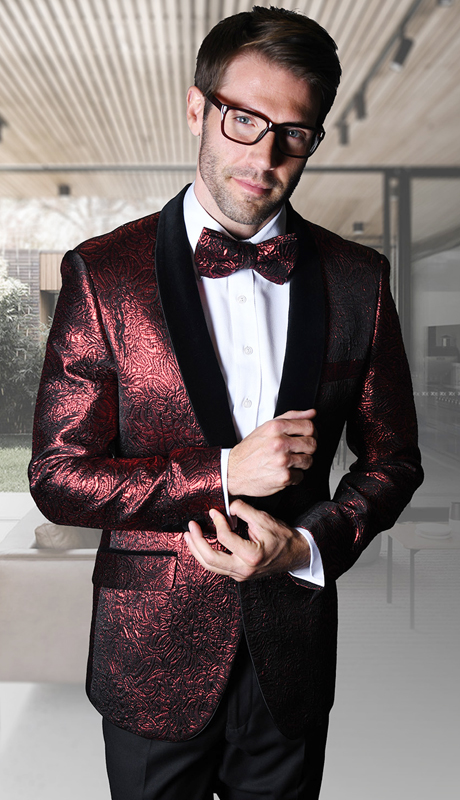 VJ-113-RE ( 1pc Mens Statement Sport Coat With Velvet Lapel And Free Matching Bow Tie, Super 150's )