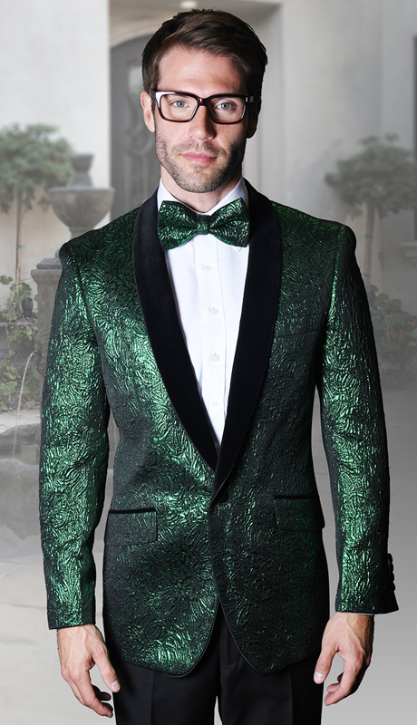 VJ-113-GN ( 1pc Mens Statement Sport Coat With Velvet Lapel And Free Matching Bow Tie, Super 150's )