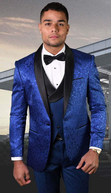 BELAGIO-SA ( 3pc Mens Tailored Fit Suit With Flat Front Pants )