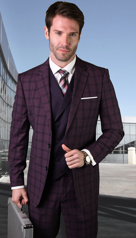 GEORGIO-BUR-CO ( 3pc Tailored Suit With Fit Flat Front Pants )