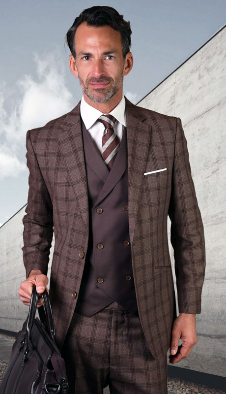 GEORGIO-CO ( 3pc Tailored Suit With Fit Flat Front Pants )