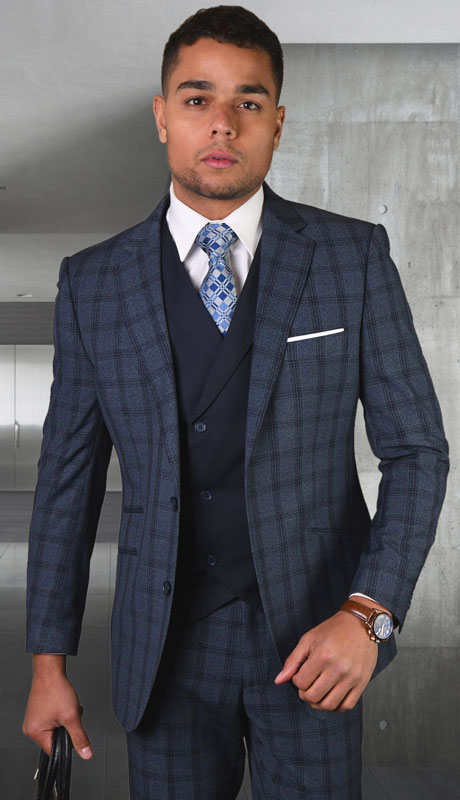 GEORGIO-IN ( 3pc Tailored Suit With Fit Flat Front Pants )