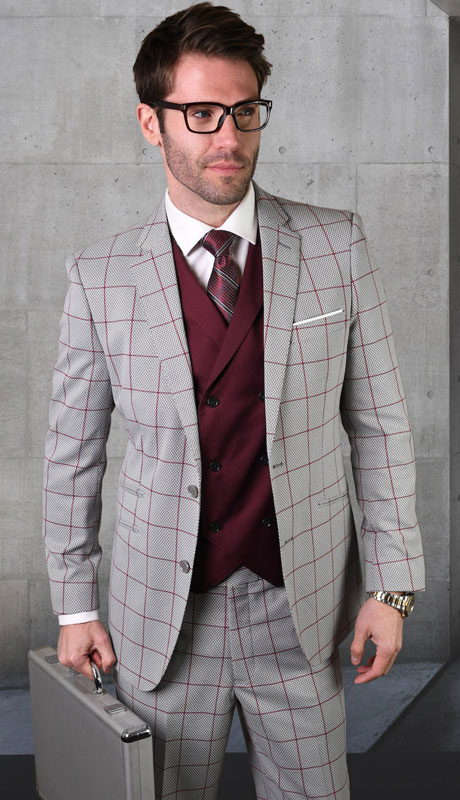 RIGATO-GR ( 3pc Tailored Suit With Fit Flat Front Pants )