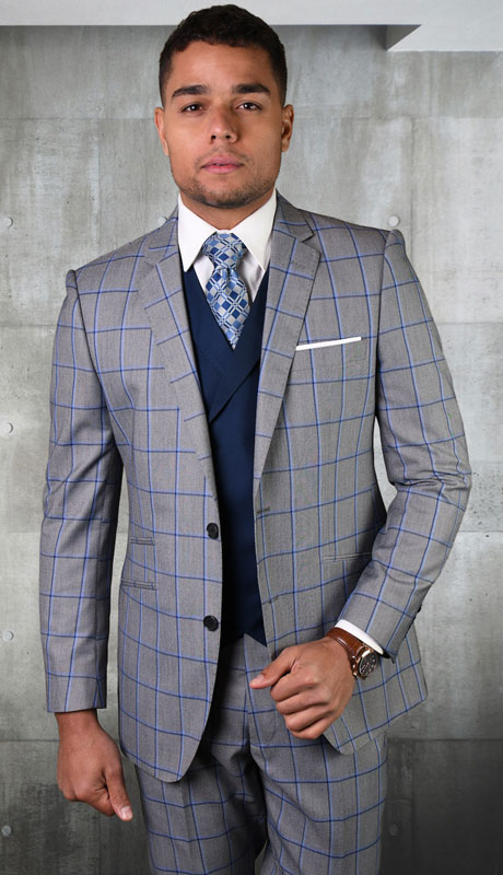 PORTO-GR-CO ( 3pc Tailored Suit With Fit Flat Front Pants )