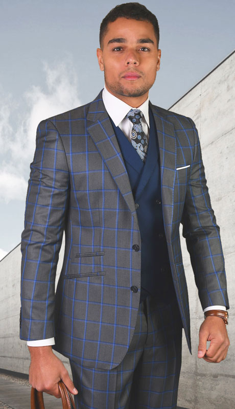 PORTO-CH ( 3pc Tailored Suit With Fit Flat Front Pants )