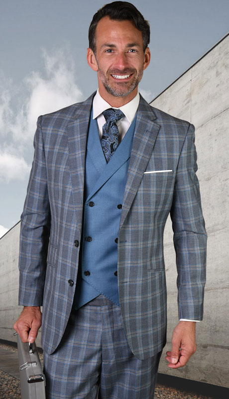 FINO-GR ( 3pc Tailored Suit With Fit Flat Front Pants )