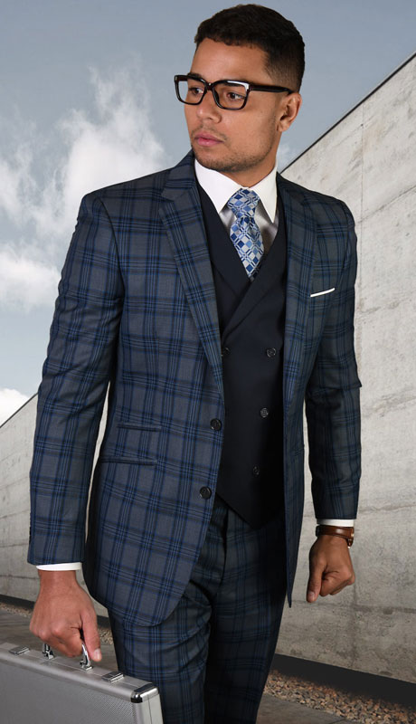 GILANO-CH ( 3pc Tailored Suit With Fit Flat Front Pants )