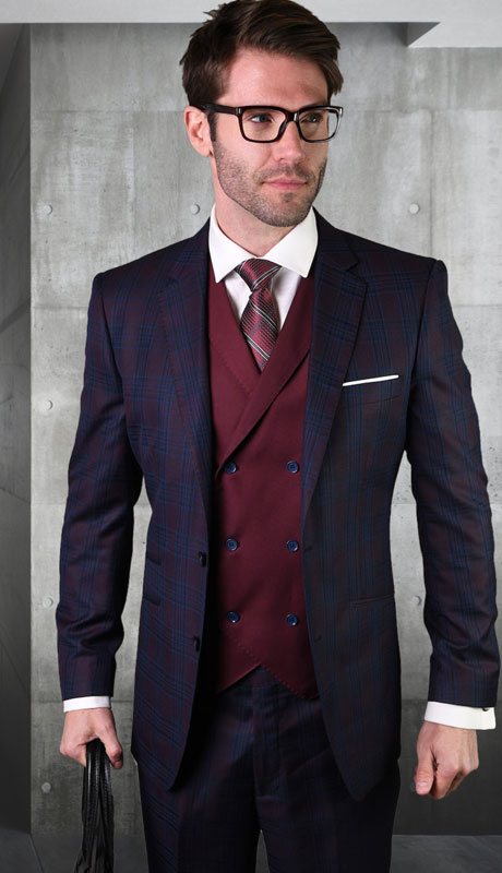 GILANO-BU ( 3pc Tailored Suit With Fit Flat Front Pants )