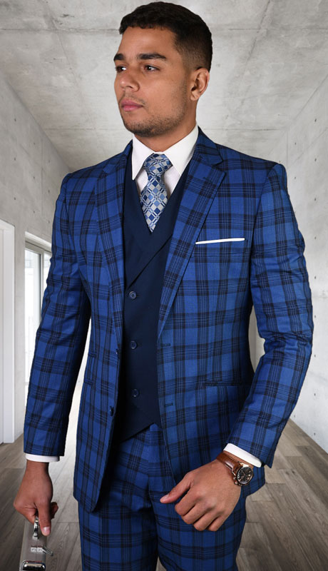 GILANO-SA ( 3pc Tailored Suit With Fit Flat Front Pants )