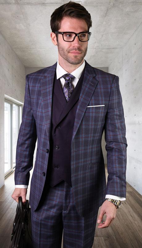 PIENZA-EG ( 3pc Tailored Suit With Fit Flat Front Pants )
