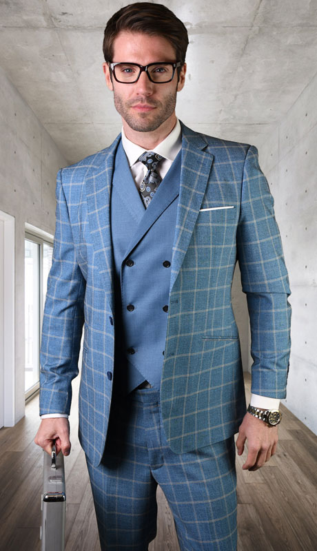 SPELLO-BL ( 3pc Tailored Suit With Fit Flat Front Pants )
