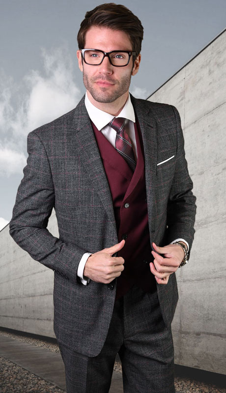 SPELLO-CH ( 3pc Tailored Suit With Fit Flat Front Pants )
