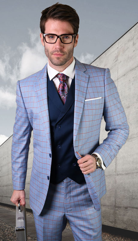 CORTANA-BL ( 3pc Tailored Suit With Fit Flat Front Pants )