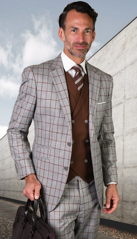 ORTIVA-CO ( 3pc Tailored Suit With Fit Flat Front Pants )