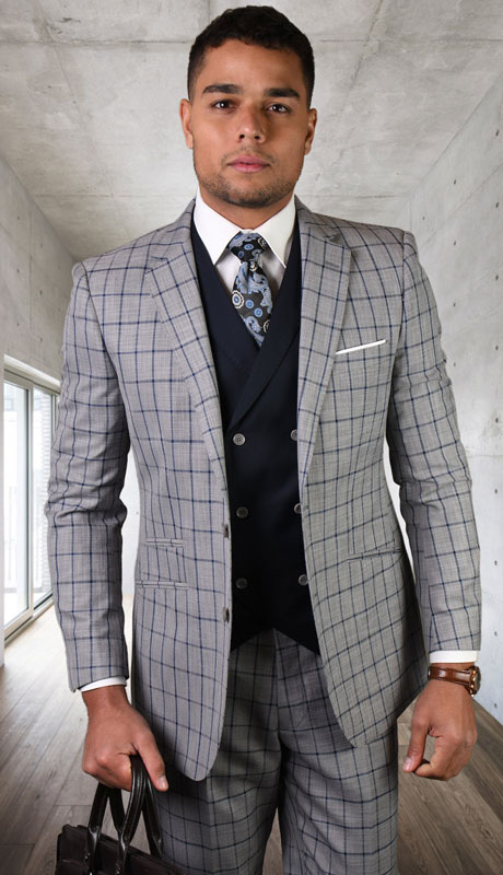 ORTIVA-GR ( 3pc Tailored Suit With Fit Flat Front Pants )