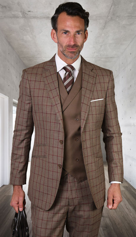 ORTIVA-BR ( 3pc Tailored Suit With Fit Flat Front Pants )