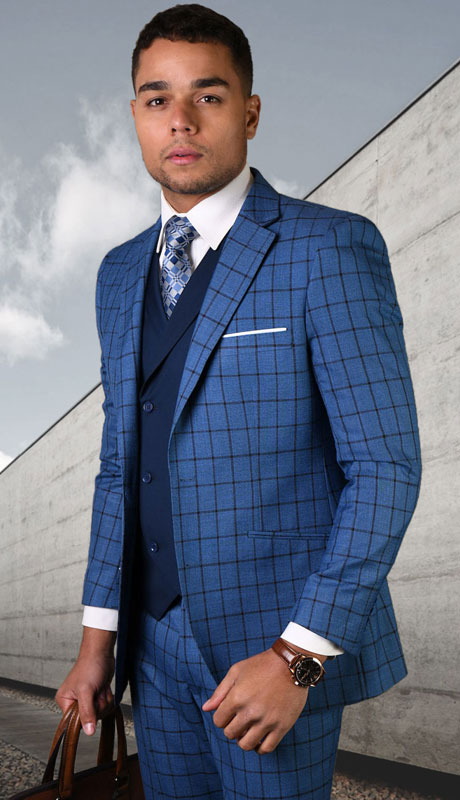 ORTIVA-SA ( 3pc Tailored Suit With Fit Flat Front Pants )