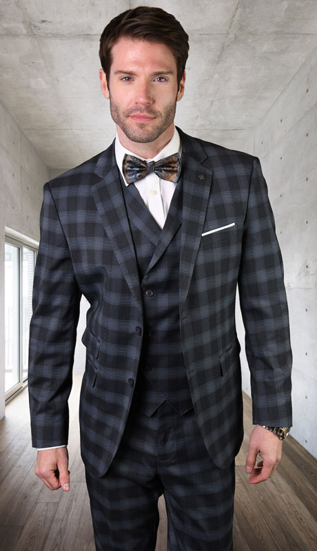 ANGEL-1-CH ( 3pc Tailored Suit With Fit Flat Front Pants Super 150's )