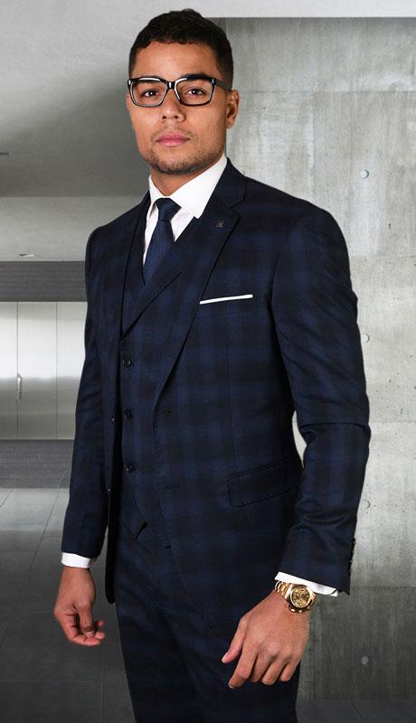 ANGEL-1-MI ( 3pc Tailored Suit With Fit Flat Front Pants Super 150's )
