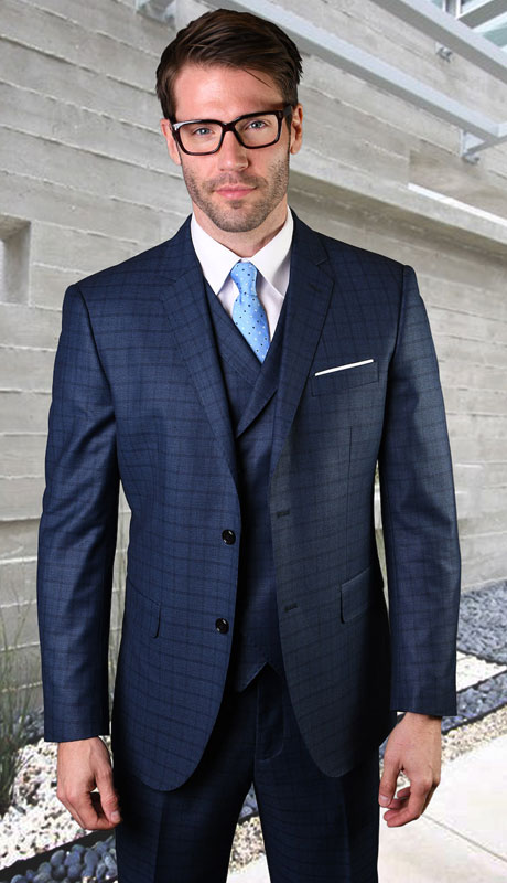 ANGEL-3-SA ( 3pc Tailored Suit With Fit Flat Front Pants Super 150's )
