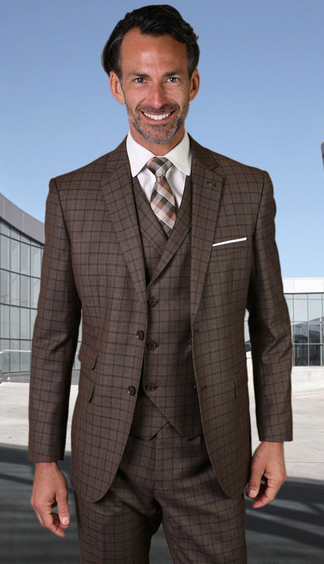 ANGEL-3-BR ( 3pc Tailored Suit With Fit Flat Front Pants Super 150's )