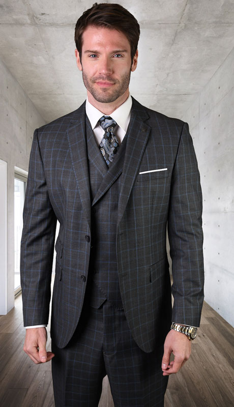 ANGEL-5-CH ( 3pc Tailored Suit With Fit Flat Front Pants Super 150's )
