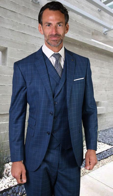 ANGEL-5-MI ( 3pc Tailored Suit With Fit Flat Front Pants Super 150's )