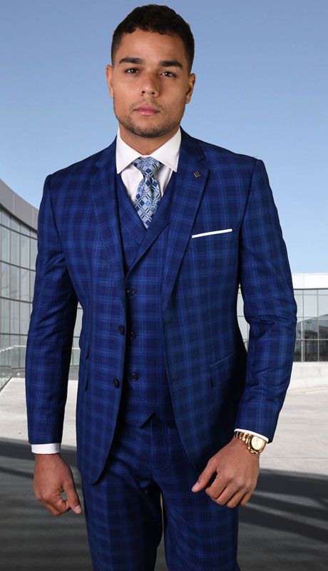 ANGEL-4-SA ( 3pc Tailored Suit With Fit Flat Front Pants Super 150's )