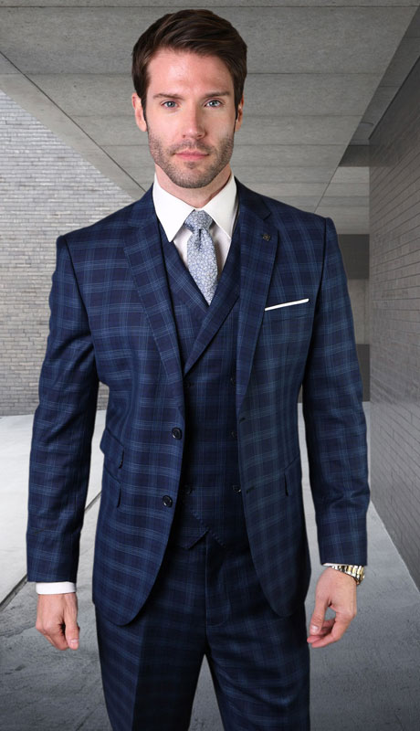 ANGEL-4-NA ( 3pc Tailored Suit With Fit Flat Front Pants Super 150's )