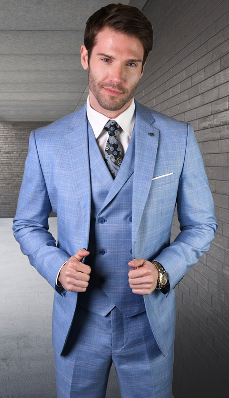 ANGEL-6-BL ( 3pc Tailored Suit With Fit Flat Front Pants Super 150's )