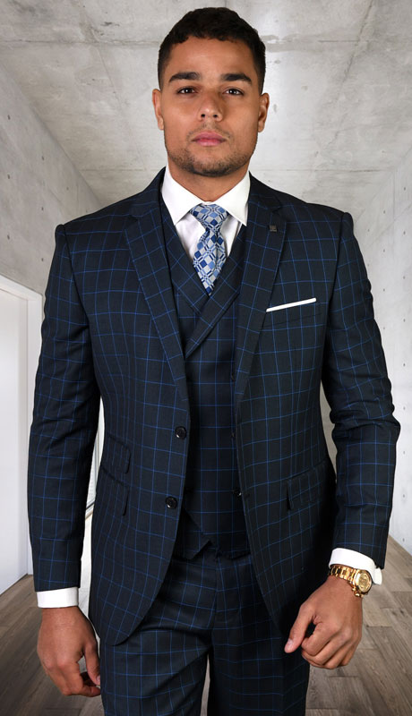 ANGEL-7-BL ( 3pc Tailored Suit With Fit Flat Front Pants Super 150's )