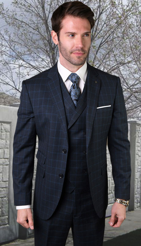 ANGEL-7-NA ( 3pc Tailored Suit With Fit Flat Front Pants Super 150's )
