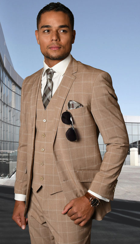 STZV-760-TA ( 3pc Tailored Suit With Fit Flat Front Pants Super 150's )