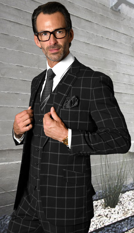STZV-760-BL ( 3pc Tailored Suit With Fit Flat Front Pants Super 150's )