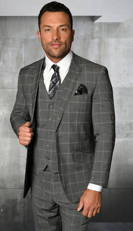 STZV-760-GR ( 3pc Tailored Suit With Fit Flat Front Pants Super 150's )
