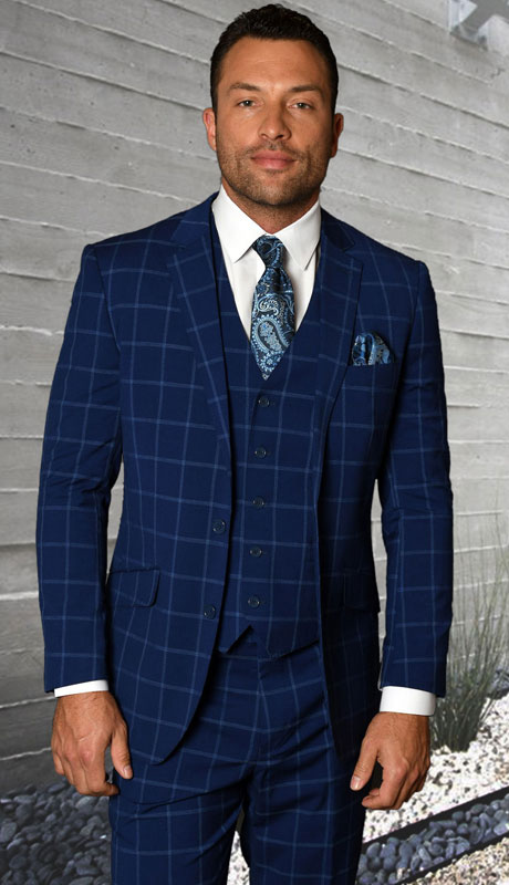 STZV-760-SA ( 3pc Tailored Suit With Fit Flat Front Pants Super 150's )
