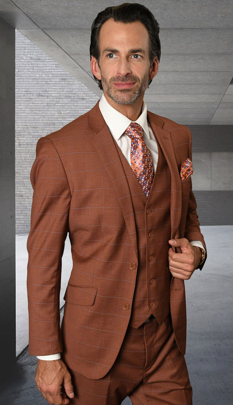 STZV-761-CP ( 3pc Tailored Suit With Fit Flat Front Pants Super 150's )