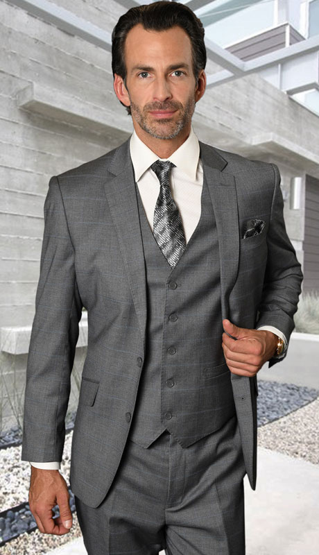 STZV-761-GR ( 3pc Tailored Suit With Fit Flat Front Pants Super 150's )