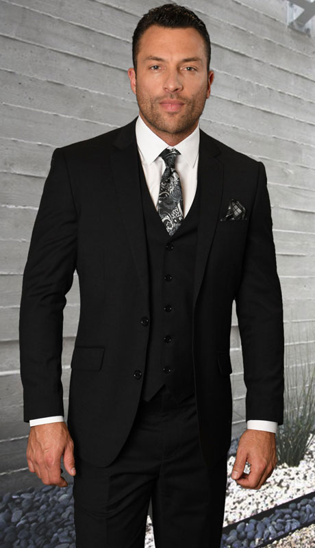 STZV-761-BL ( 3pc Tailored Suit With Fit Flat Front Pants Super 150's )