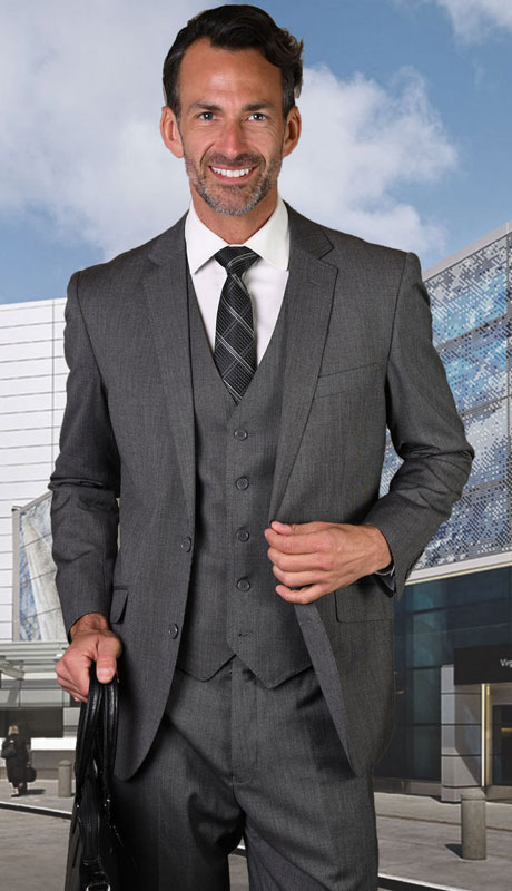 STZV-762-GR ( 3pc Tailored Suit With Fit Flat Front Pants Super 150's )