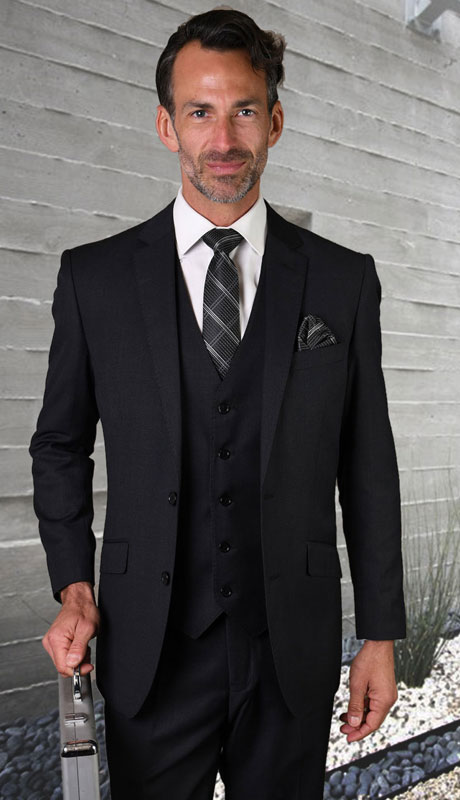 STZV-762-MI ( 3pc Tailored Suit With Fit Flat Front Pants Super 150's )